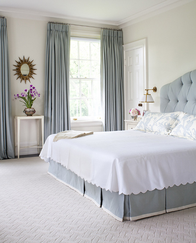 Blue Bed. Blue Bed Fabric Ideas. Master bedroom with blue bed and blue draperies. #BlueBedroom #BlueBed #BlueDraperies #Bedroom #MasterBedroom Anne Hepfer Designs.