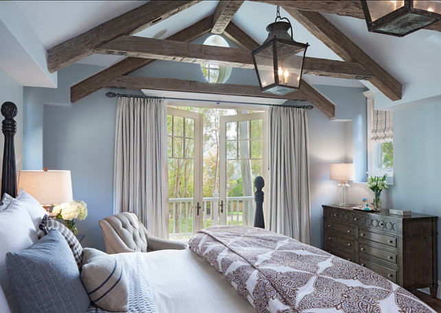 Blue Bedroom Ideas. Soothing Blue Bedroom Design. Paint Color is Dunn-Edwards' Alaskan Skies. #Bedroom #BluePaintColor
