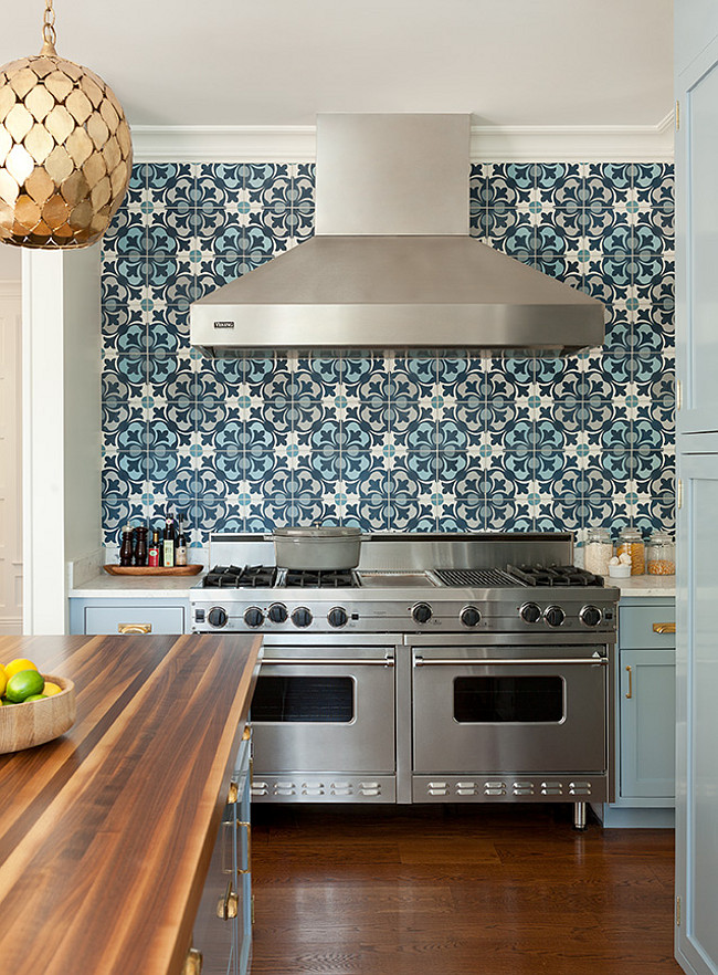 Blue Cement Tile. Blue Cement Tile Backsplash. Kitchen with Blue Cement Tile Backsplash. Blue Cement Tile Backsplash Design. #Blue #CementTile #Backsplash. Anna Burke Interiors.
