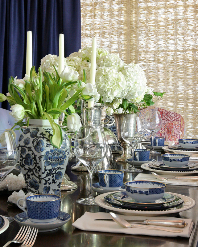 Blue and White Table Decorating Ideas. #Blueandwhite #BlueandwhiteTable #BlueandwhiteTableDecor #BlueandwhiteTableSetting Blue and White Tabletop Decor Summer Thornton Design, Inc.