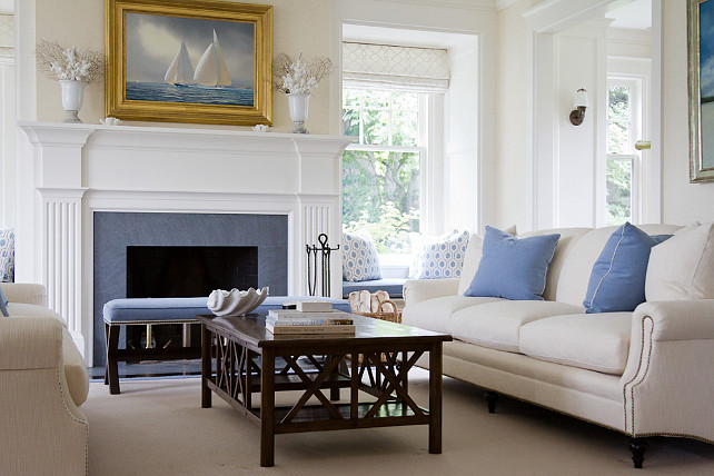 Blue and cream living room. SLC Interiors.