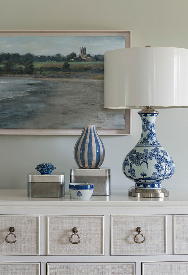 Blue and white dining foyer. Foyer with blue and white motif. Digs Design Company.