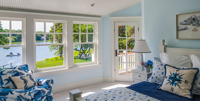 Blue bedroom with coastal decor. #BlueBedroom #Coastal #Decor Polhemus Savery DaSilva Architects Builders.