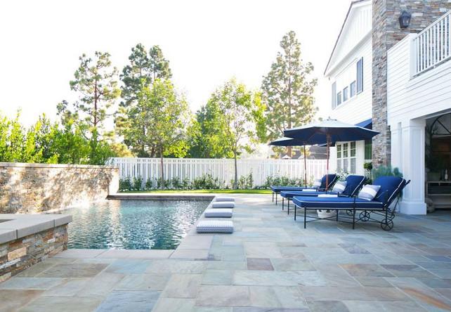 Blue stone pool surround. Blue stone pool patio. #Bluestone #pool #patio Kelly Nutt Design.