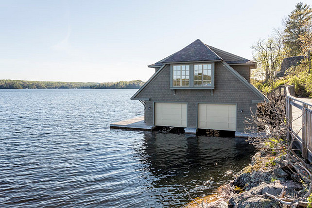 Boathouse Design. Muskoka Boathouse Design Ideas. #Muskoka #Boathouse #BoathouseDesign Via Muskoka Cottages for Sale.