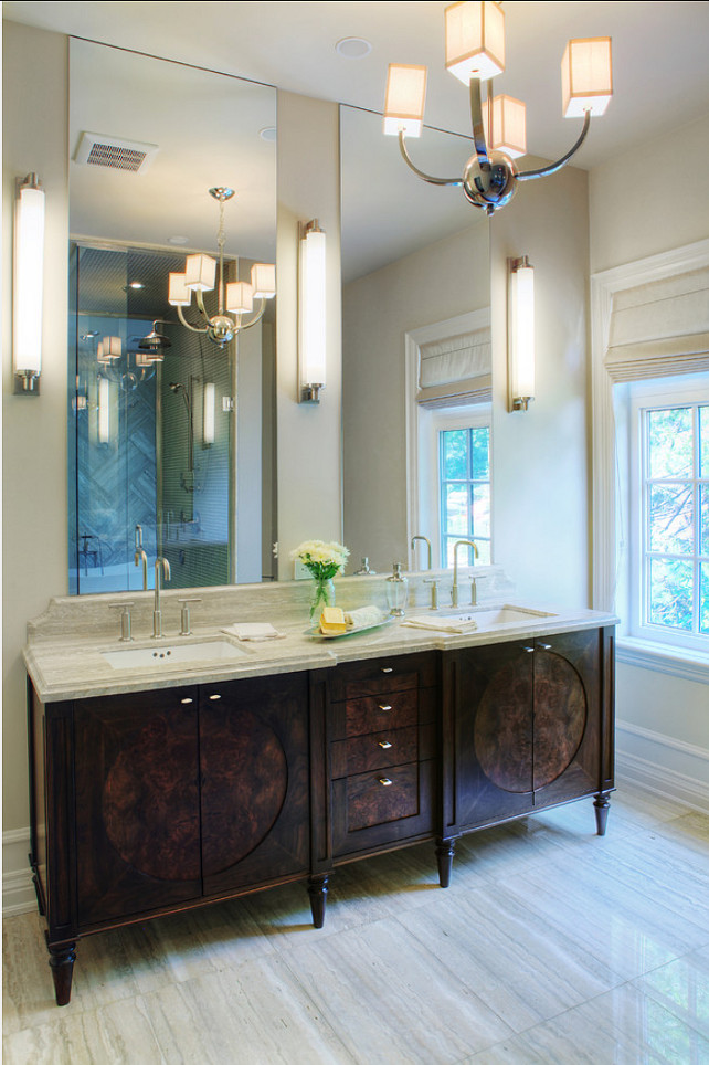 Bathroom Design Ideas. European style bathroom cabinetry. Custom walnut doors and drawers complete with natural burled walnut centre detail. #Bathroom #BathroomCabinetry