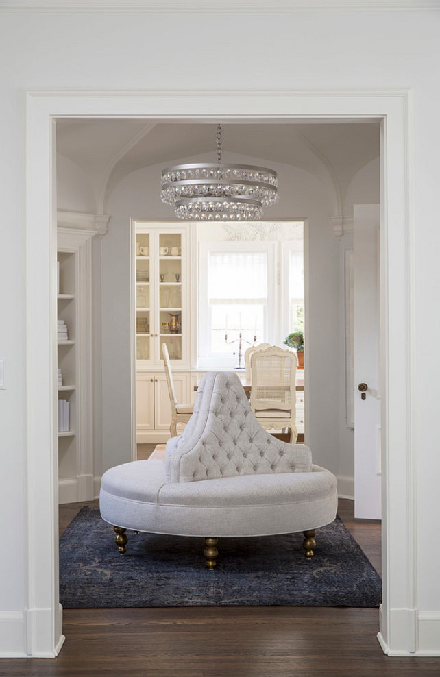 Bradley Chandelier and Bradley Ottoman in room painted in Benjamin Moore White Dove. Martha O'Hara Interiors.