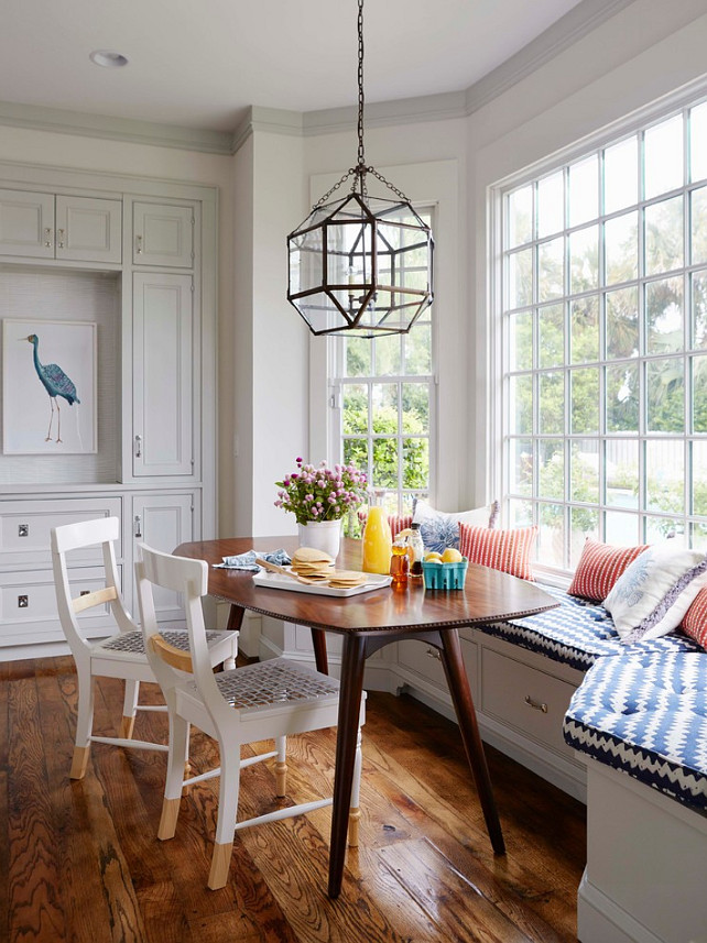 Breakfast Nook. Breakfast Nook with built-in bench and chairs. Breakfast Nook Ideas. Breakfast Nook Window. Breakfast Nook Lighting. Lighting is the Morris lantern from Circa Lighting. #BreakfastNook