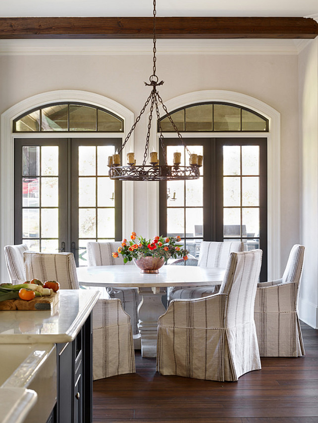 Breakfast Room. Breakfast Room with slipcovered chairs. #BreakfastRoom #SlipcoveredChairs Chenault James Interiors.