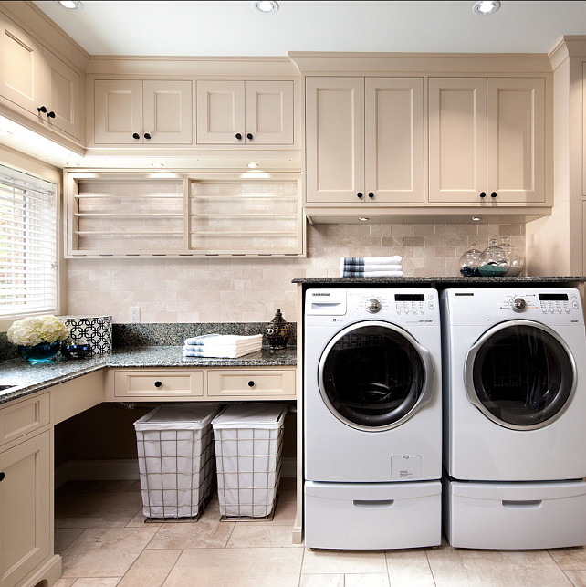 Laundry Room Cabinet Design. I am loving the cabinets in this laundry room. #Laundryroom #Cabinet