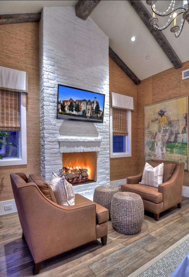 Brick Fireplace. Painted Brick Fireplace Ideas. #Brick #BrickFireplace #PaintedBrick
