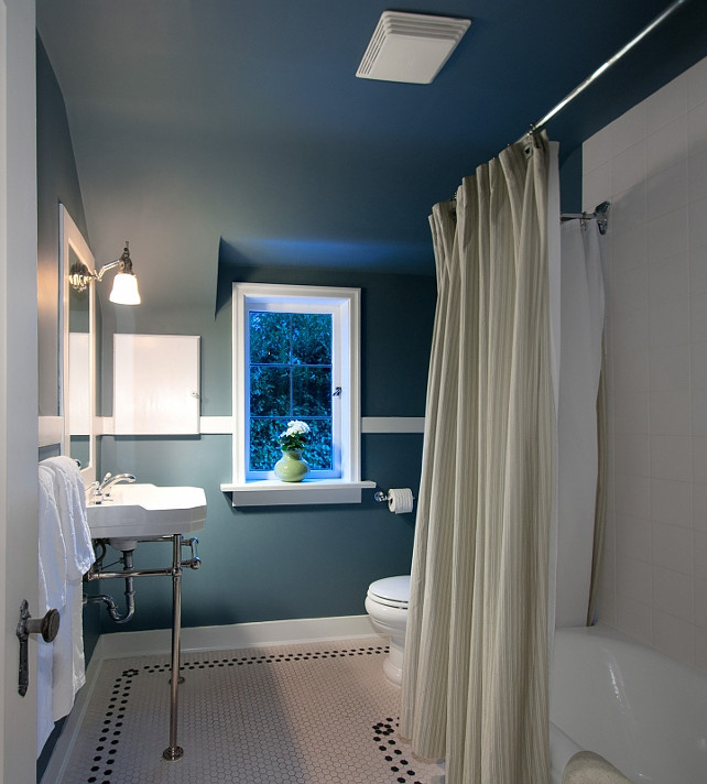 Bathroom. Blue Bathroom Ideas. #Bathrom #BluePaintColor