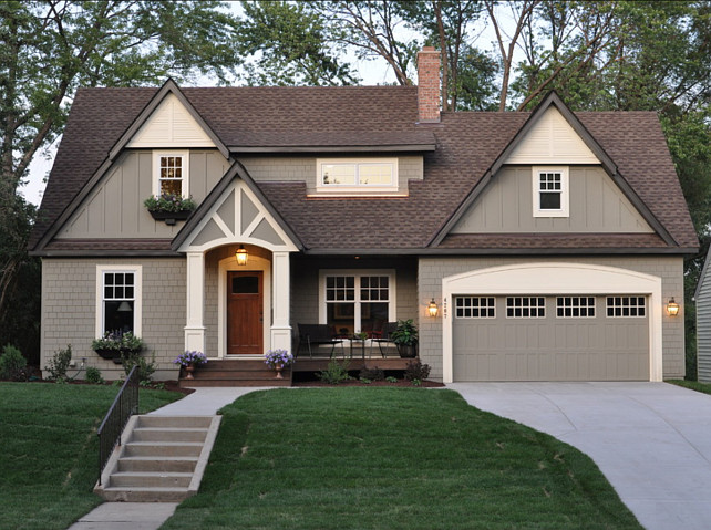 Home Exterior Paint Color Ideas.  Home Exterior Paint Color Combinations. Home Exterior Paint Color Schemes. The body of the house is Benjamin Moore Copley Gray. Trim of the house is Benjamin Moore Elephant Tusk OC-8 #BenjaminMooreElephantTusk #BenjaminMooreOC8#BenjaminMooreCopleyGray  #HomeExterior #PaintColorIdeas