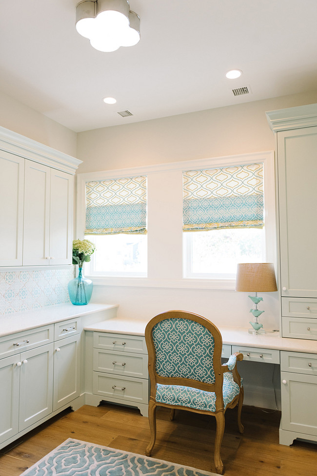Built-in Desk. Kitchen Built-in Desk. Kitchen Cabinet Desk. Wall paint color is Benjamin Moore Cool Breeze CSP-665. Kitchen with built-in desk. Cabinets are painted in Benjamin Moore Hollingsworth Green HC-141. #Kitchen #Desk Four Chairs Furniture.