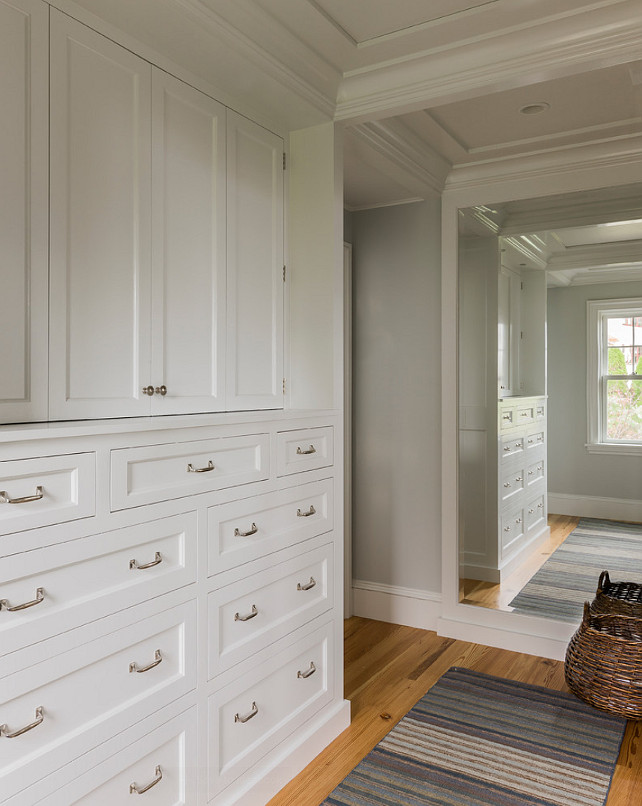 Closet Built ins. Beautiful walk in closet with built ins. This is my kind of walk-in closet, plenty of built-in storage. Everything is hidden, organized and away from dust. The rug is from Landry & Arcari. #Closet #WalkinCloset #Builtin #Storage