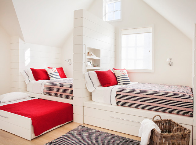 Built-in beds. Cottage Bedroom with built-in beds. Cottage Bedroom with built-in beds and tongue and groove walls. #builtinbeds #Cottage #Bedroom #KidsBedroom #CottageBedroom. Jennifer Palumbo.
