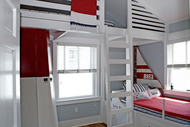 Children's Room with a Nautical Theme. Bunk Bed Ideas. Coastal Bunk Bed. #Coastal #Bunkbed #kidsOUTinDesign.