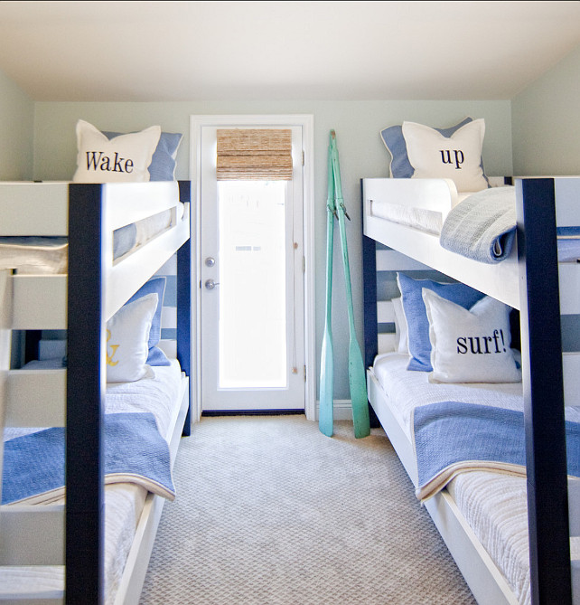 Bunk Room Ideas. Coastal Bunk Room #BunkRoom  Brooke Wagner Design.