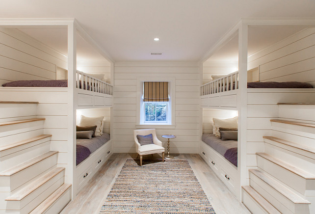 Bunk Room. Bunk Bed Ladder Ideas. The ladders on these bunk beds are safe and placed by the walls, like staircases. #BunkRoom #BunkBeds #ladder #SafeBunkBed Jonathan Raith Inc.