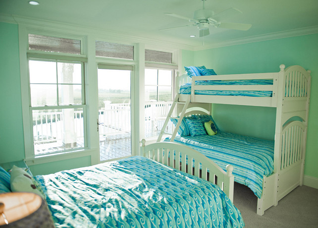 Bunk Room. Bunk Room Ideas #BunkRoom Sherwin Williams 6750 Waterfall.
