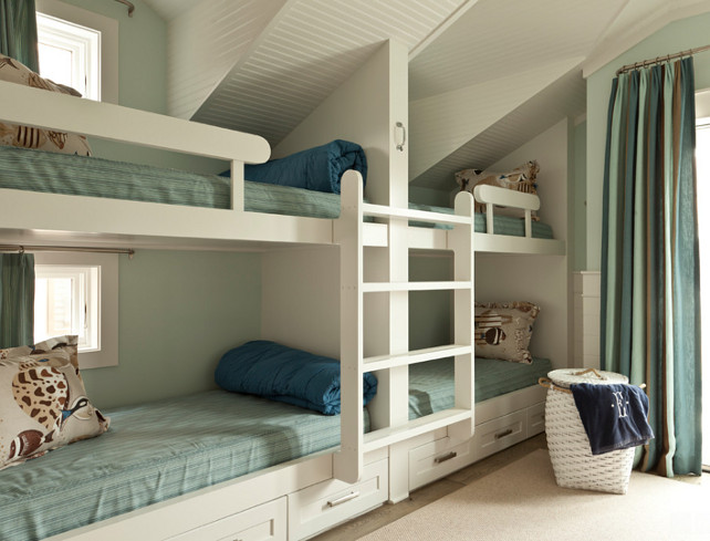 Bunk Room. Bunk Room with Beadboard ceiling. Bunk Room Ideas. Custom Bunk Room Beds. Bunk Room Paint Color. Bunk Room Bedding. Bunk RoomDecor. Bunk Room Layout. #BunkRoom Anne Michaelsen Design.