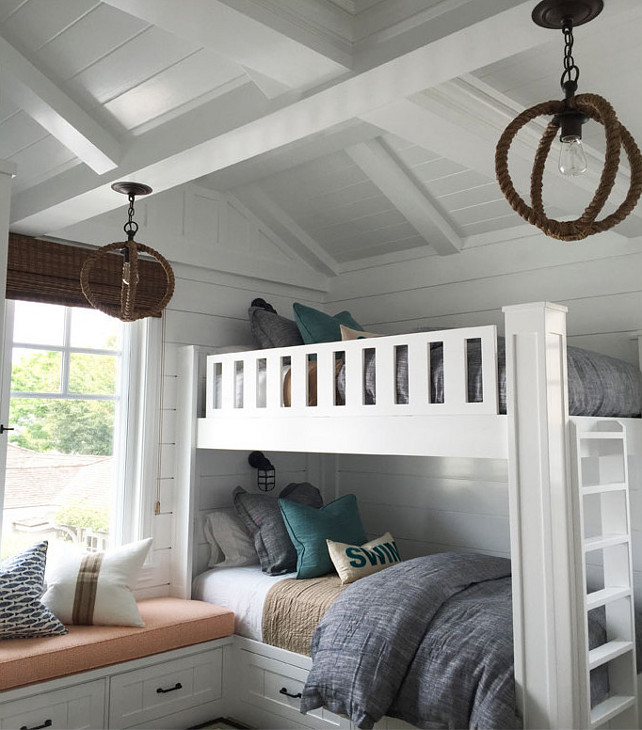 Bunk Room Lighting. The Natural Jute Rope and Wrought Iron Pendant Light are from Our Boathouse. Coastal Bunk Room. Coastal Bunk room with built-in bunk beds, built-in storage under window seat, shiplap walls and coastal lighting. #BunkRoom Blackband Design.