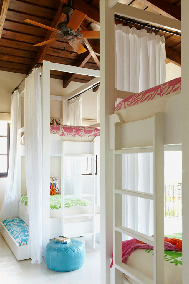 Bunk Room. Creative and practical bunk room with Trundle beds. Interior Design by Beth Webb Interiors.