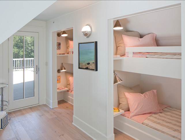 BunkBed Room. Bunkbed room Ideas. Paint Color here is Benjamin Moore White Dove. #BunkBedRoom #BunkRoom #BunkBedDesign #BMWhiteDove