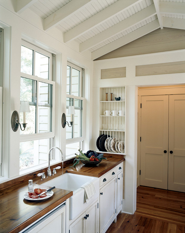 Butcher Block Countertop Types. Butcher Block Countertop Ideas. The butcher block countertop in this kitchen is heart pine planks. #butcherblock #butcherblockcountertop Historical Concepts