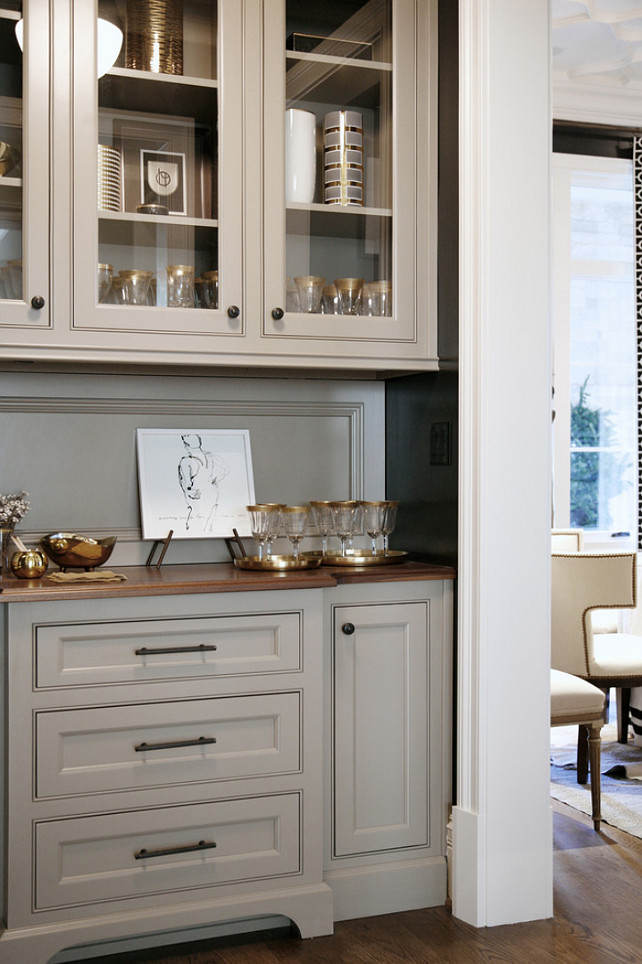 Butler Pantry Counter top. Butler pantry countertop is Heritage Wood Black Walnut by Construction Resources. #butlerpantry #butlerpantryCountertop Barbara Brown Photography. Bell Kitchen and Bath Studios.