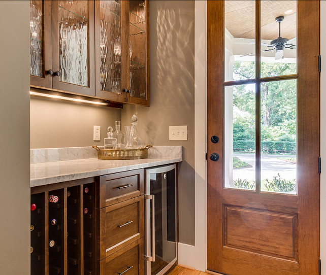 Butler Pantry. Butler Pantry Ideas. Door in this butler pantry is from Rogue Valley Doors. #ButlerPantry #Cabinets