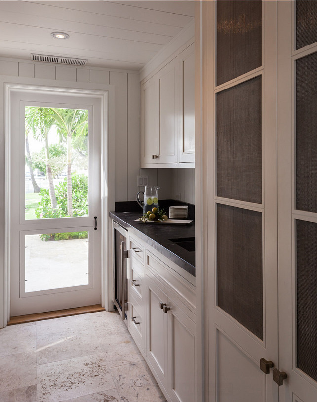 Butler's Pantry. Butler's Pantry with off white cabinets and soapstone countertop. #ButlersPantry. #PantryDesign #Pantry