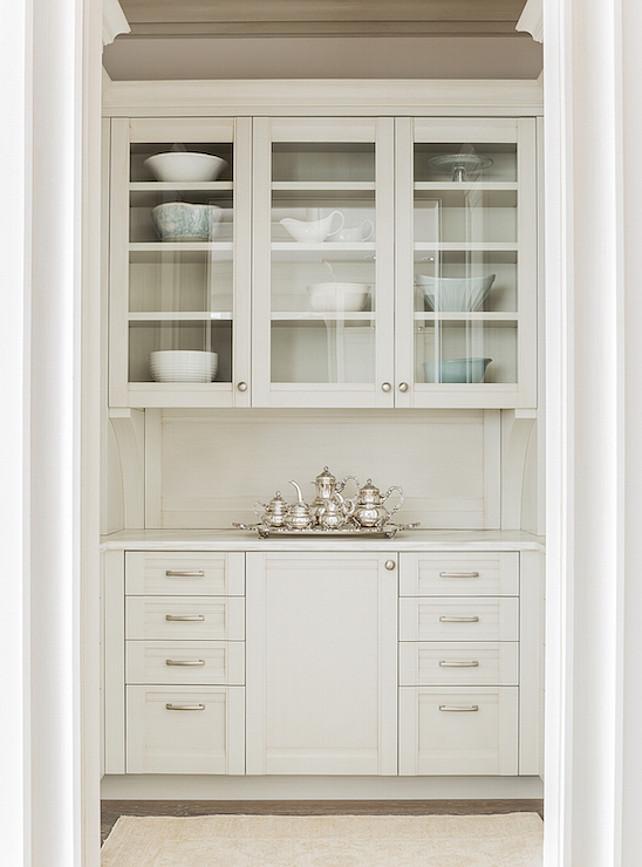 Butler's Pantry. Gray Butler's Pantry Cabinet. Butler's pantry with glass-front upper cabinets. #ButlersPantry Anita Clark Design.