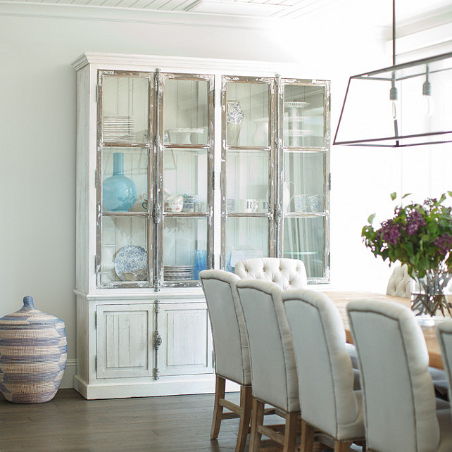 Cabinet. Dining room cabinet. Distressed white dining room cabinet. #DiningRoom #Cabinet Becki Owens Design.
