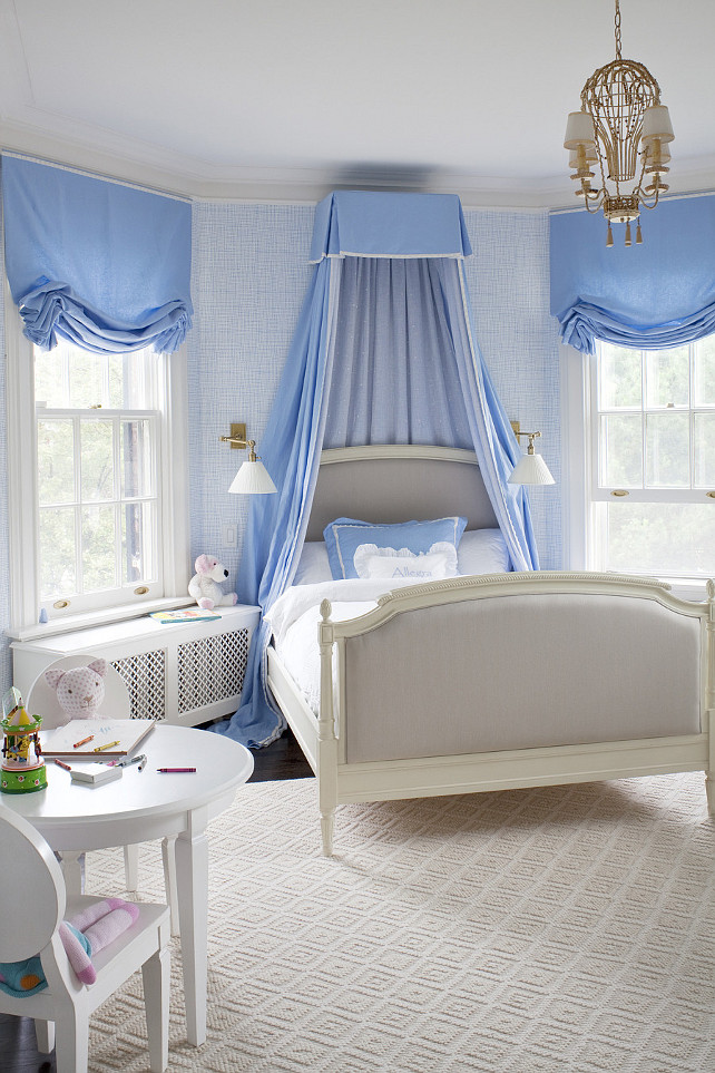 Canopy bed. Kids Bedroom with canopy bed. Canopy bed ideas. #CanopyBed #kidsBedroom Anne Hepfer Designs.