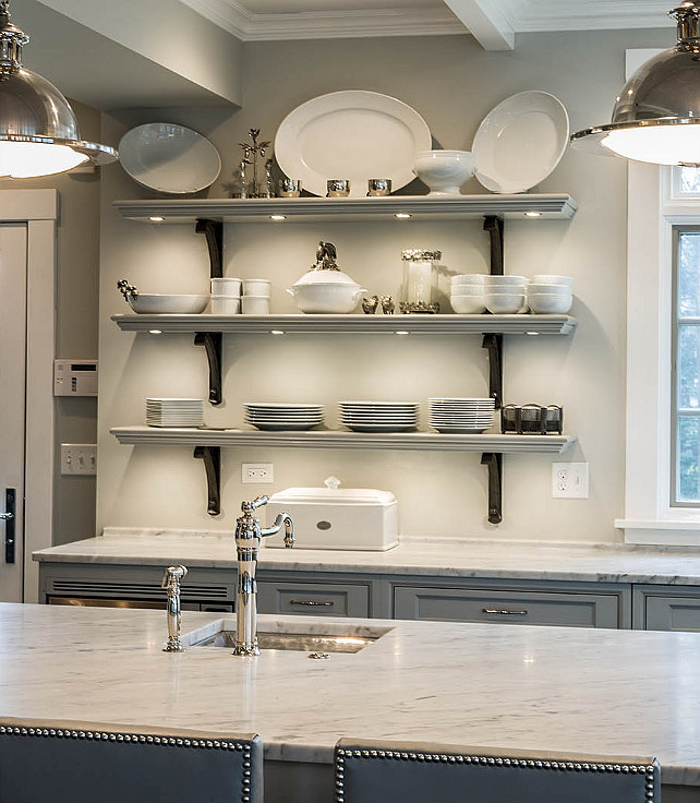 White Kitchen Shelf: Scandinavian-Inspired Gray Kitchen