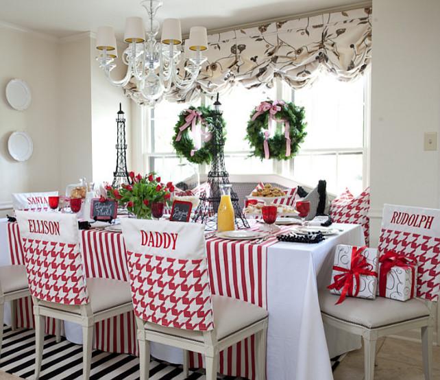 Casual Christmas Dining Room Decor #ChristmasDecor   Tobi Fairley Interior Design.