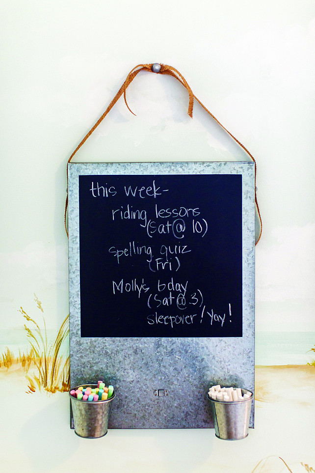 Chalk Board. This girl's bedroom has a DIY chalk board message to display her weekly schedule.