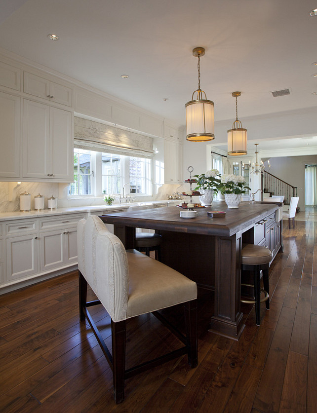 Classic White Kitchen. Classic white kitchen with bench on island.  #Classic #Kitchen #WhiteKitchen  Matthew Thomas Architecture, LLC.
