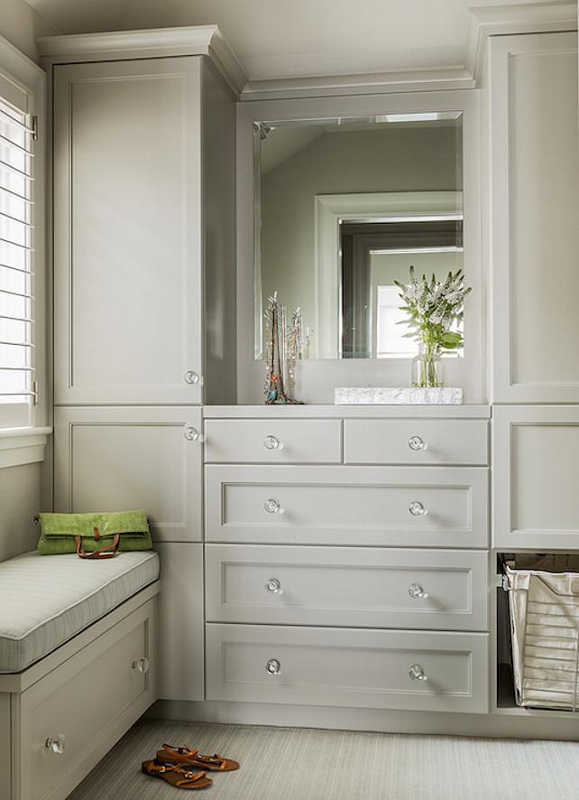 Closet Cabinet. Gray Closet Cabinet. Gray Closet Cabinet Design. Pale Gray Cabinet #ClosetCabinet #GrayClosetCabinet #PalegrayCabinet  Anita Clark Design.