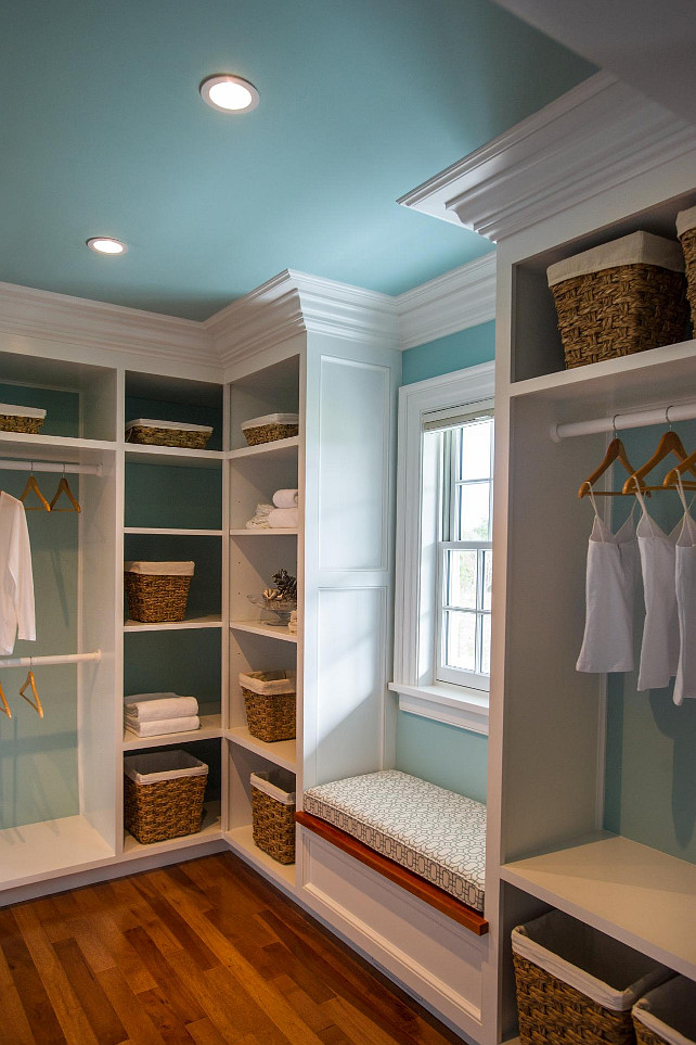 Closet Plan. Walk-in Closet Ideas. A cozy window seat separates custom-built closet units and offers a comfortable place to rest while getting ready.. #Closet