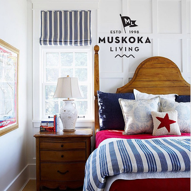 Coastal Bedroom. Classic Coastal Bedroom Color Scheme. #Bedroom #Coastal #ColorScheme Muskoka Living Interiors.
