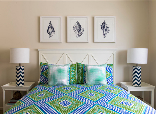 Coastal Bedroom. This coastal bedroom is all about color and summer! #CoastalBedroom