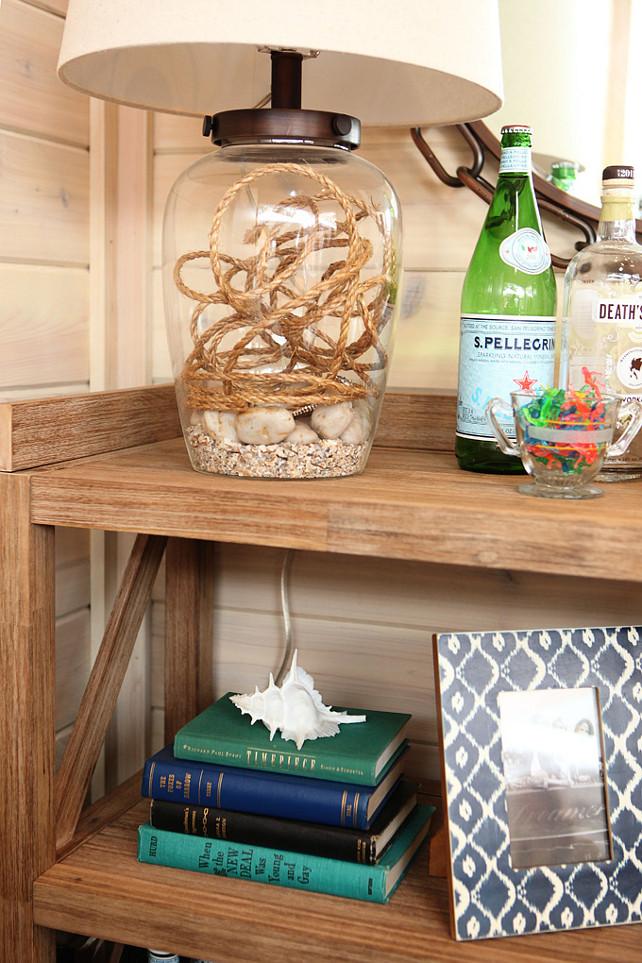 Coastal Chic. Coastal decor ideas. Bookcase with coastal decor. Bookcase coastal motif ideas. Great Neighborhood Homes.