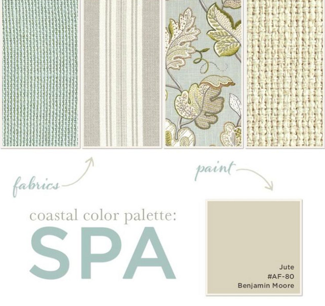 Coastal Color Palette. Paint Color is Benjamin Moore Jute AF-80. Coastal Color Palette with Fabric Ideas.