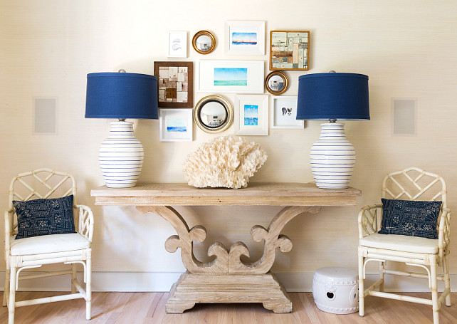 Coastal Interiors. Coastal Interior Decor Ideas. Living room wall. Custom artwork and mirrors. Blue and white lamps and Chinese chippendale chairs. #CoastalInteriors #CoastalDecor Chango & Co. Chango & Co.