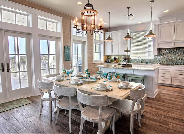 Coastal Kitchen and Dining Room. Cinnamon Shore via House of Turquoise.