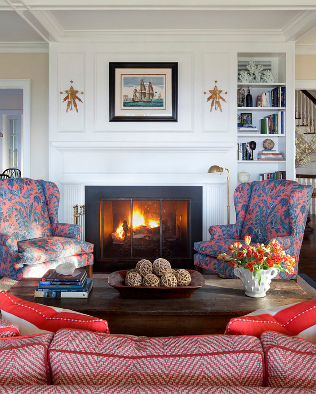 Coastal Living Room. Living Room Fireplace with coastal decor. #CoastalLivingRoom #LivingRoom #Fireplace #CoastalInteriors Jeannie Balsam LLC.