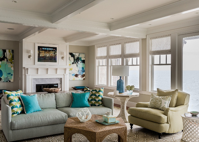 Coastal Living Room. Transitional coastal living room with ocean view. Coastal living room paint color ideas. #LivingRoom #Coastal #BeachHouse #PaintColor   Jennifer Palumbo.