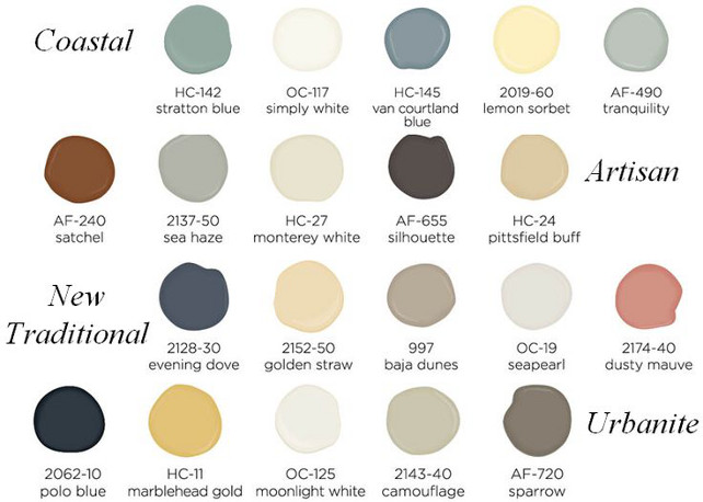 Coastal Paint Colors, Benjamin Moore HC-172 Stratton Blue, Benjamin Moore OC-117 Simply White, Benjamin Moore HC-145 Van Courtland Blue, Benjamin Moore 2019-60 Lemon Sorbet, Benjamin Moore AF-490 Tranquility. Artisan Paint Colors. Benjamin Moore AF-240 Satchel, Benjamin Moore 2137-50 Sea Haze, Benjamin Moore HC-27 Monterey White, Benjamin Moore AF-655 Silhouette, Benjamin Moore HC-24 Pittsfield Buff. New Transitional Paint Colors. Benjamin Moore 2128-30 Evening Dove, Benjamin Moore 2152-50 Golden Straw, Benjamin Moore 997 Baja Dunes, Benjamin Moore OC-19 Seapearl, Benjamin Moore 2174-40 Dusty Mauve. Urbanite Paint Colors. Benjamin Moore 2062-10 Polo Blue, Benjamin Moore HC-11 Marblehead Gold, Benjamin Moore OC-125 Moonlight White, Benjamin Moore 2143-40 Camouflage, Benjamin Moore AF-720 Sparrow. #BenjaminMoorePaintColors